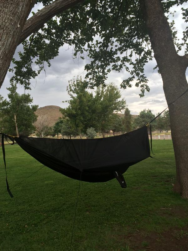 This backer was kind enough to share this photo of his GO! Camping Hammock set up in Texas!