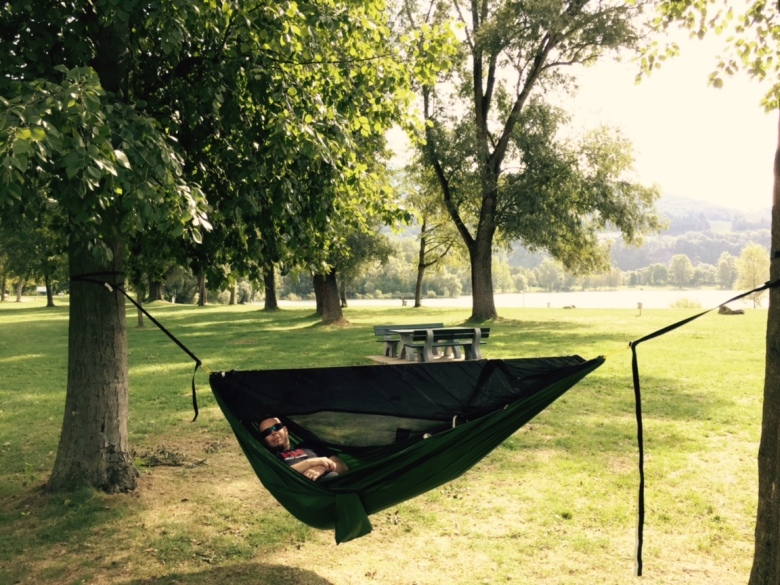 A backer using their hammock in Austria! Thanks to this backer for sharing this photo!