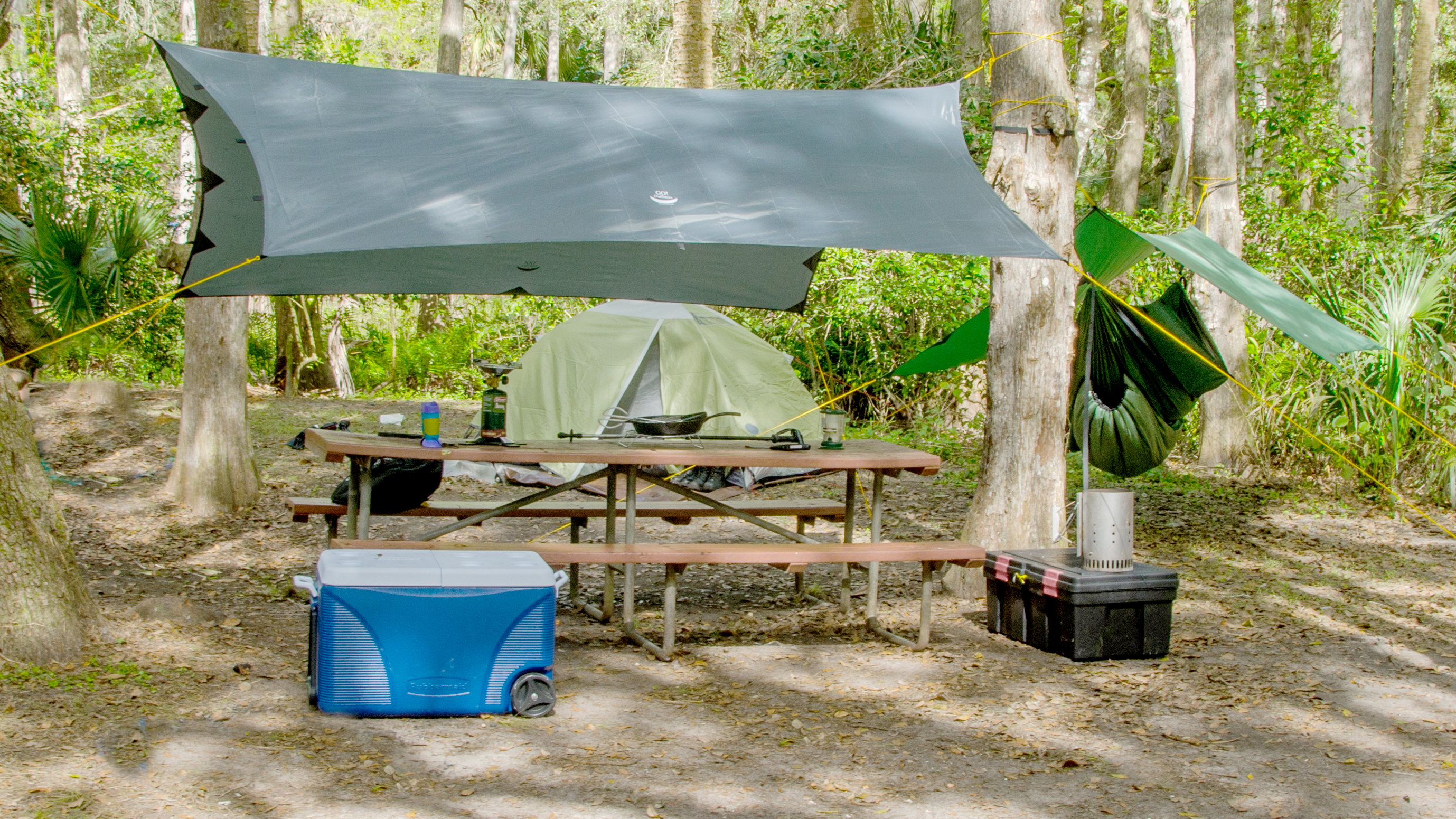 Video 16 X 9 2 tarps w- camping gear-2